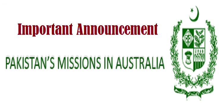 Important Announcement of the High Commission of Pakistan in Australia